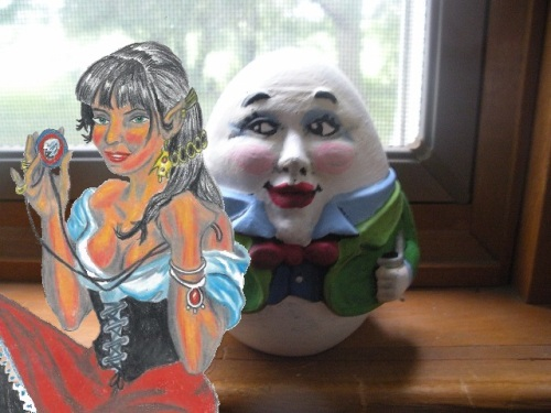 Humpty Dumpty and his Girlfriend Esmeralda the Elf