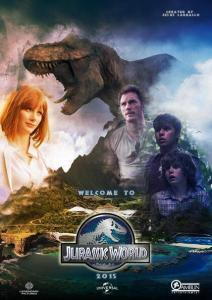 Why does this poster-saurus want to eat the pretty red-head's head?