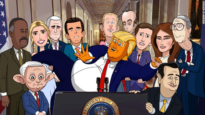 Animated cast of OUR CARTOON PRESIDENT. Photo: Courtesy of SHOWTIME